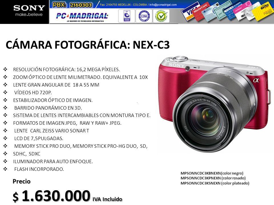 CÁMARA FOTOGRÁFICA: NEX-C3 RESOLUCIÓN FOTOGRÁFICA: 16,2 MEGA PÍXELES. ZOOM ÓPTICO DE LENTE MILIMETRADO. EQUIVALENTE A 10X LENTE GRAN ANGULAR DE 18 A 5