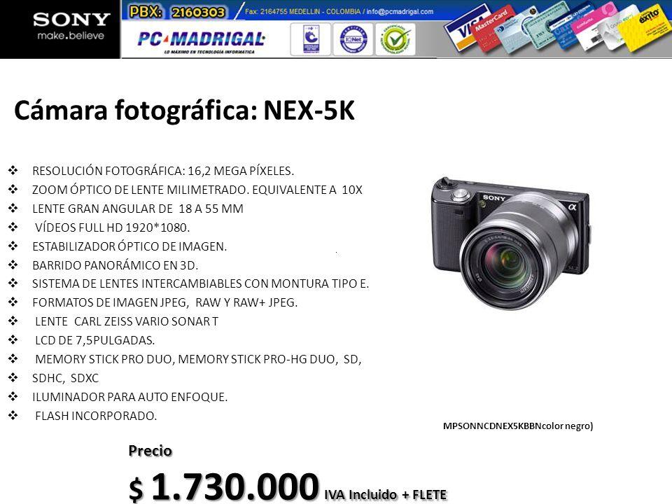Cámara fotográfica: NEX-5K RESOLUCIÓN FOTOGRÁFICA: 16,2 MEGA PÍXELES. ZOOM ÓPTICO DE LENTE MILIMETRADO. EQUIVALENTE A 10X LENTE GRAN ANGULAR DE 18 A 5