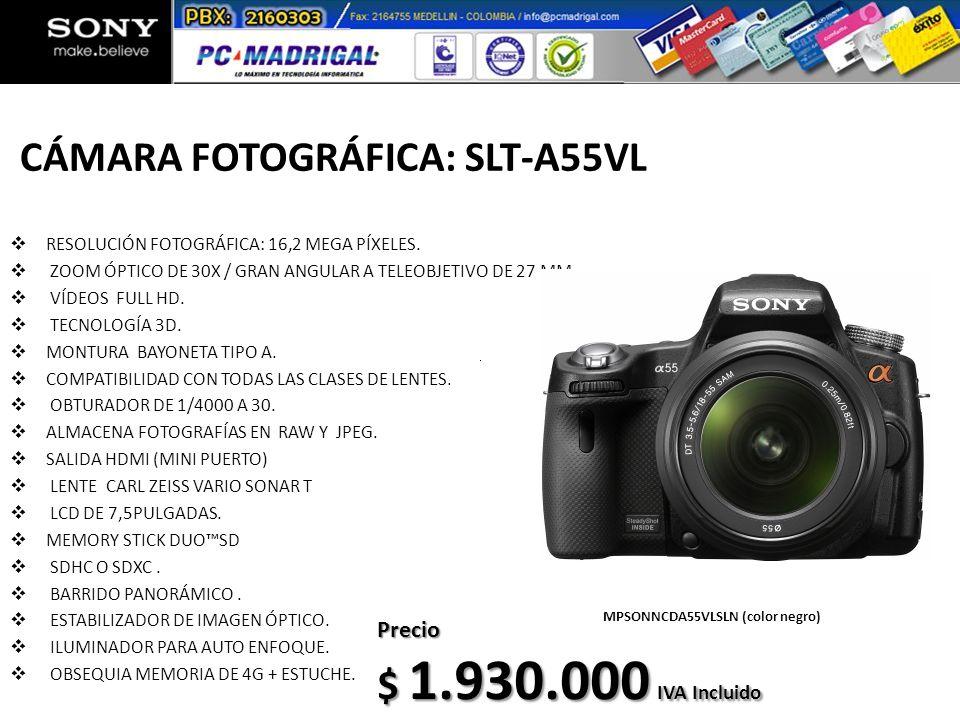 CÁMARA FOTOGRÁFICA: SLT-A55VL RESOLUCIÓN FOTOGRÁFICA: 16,2 MEGA PÍXELES. ZOOM ÓPTICO DE 30X / GRAN ANGULAR A TELEOBJETIVO DE 27 MM. VÍDEOS FULL HD. TE