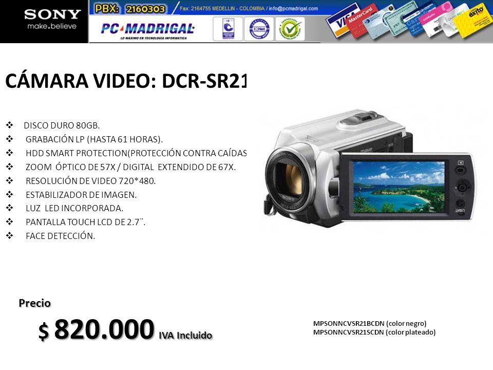 CÁMARA VIDEO: DCR-SR21 DISCO DURO 80GB. GRABACIÓN LP (HASTA 61 HORAS). HDD SMART PROTECTION(PROTECCIÓN CONTRA CAÍDAS). ZOOM ÓPTICO DE 57X / DIGITAL EX
