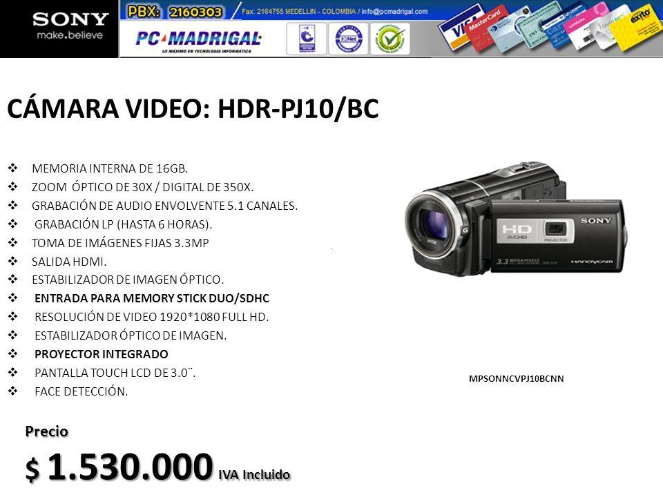 CÁMARA VIDEO: HDR-PJ10/BC MEMORIA INTERNA DE 16GB. ZOOM ÓPTICO DE 30X / DIGITAL DE 350X. GRABACIÓN DE AUDIO ENVOLVENTE 5.1 CANALES. GRABACIÓN LP (HAST