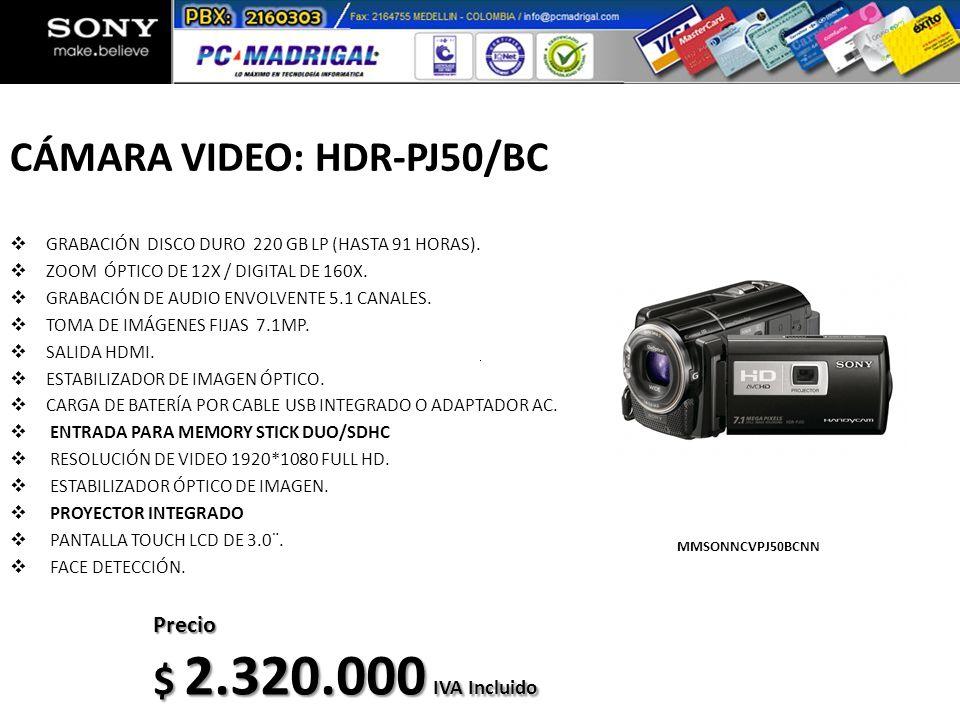 CÁMARA VIDEO: HDR-PJ50/BC GRABACIÓN DISCO DURO 220 GB LP (HASTA 91 HORAS). ZOOM ÓPTICO DE 12X / DIGITAL DE 160X. GRABACIÓN DE AUDIO ENVOLVENTE 5.1 CAN