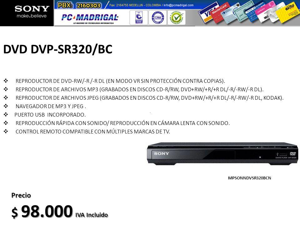 DVD DVP-SR320/BC REPRODUCTOR DE DVD-RW/-R /-R DL (EN MODO VR SIN PROTECCIÓN CONTRA COPIAS). REPRODUCTOR DE ARCHIVOS MP3 (GRABADOS EN DISCOS CD-R/RW, D