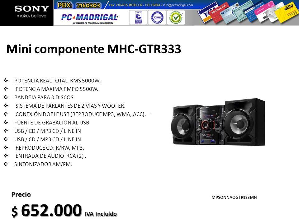 Mini componente MHC-GTR333 POTENCIA REAL TOTAL RMS 5000W. POTENCIA MÁXIMA PMPO 5500W. BANDEJA PARA 3 DISCOS. SISTEMA DE PARLANTES DE 2 VÍAS Y WOOFER.