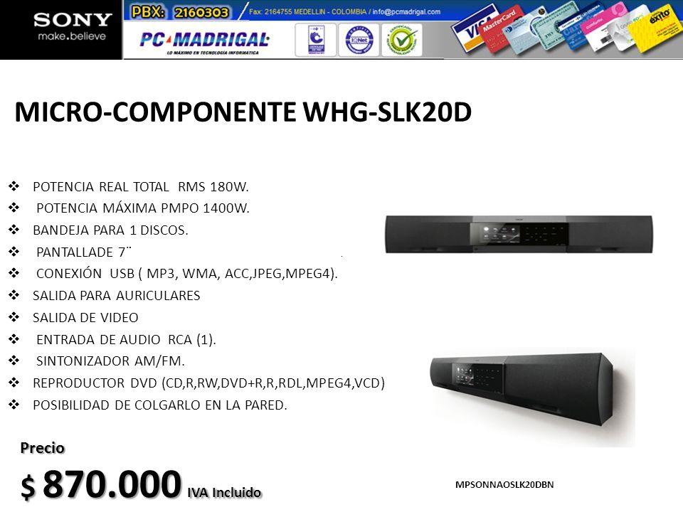 MICRO-COMPONENTE WHG-SLK20D POTENCIA REAL TOTAL RMS 180W. POTENCIA MÁXIMA PMPO 1400W. BANDEJA PARA 1 DISCOS. PANTALLADE 7¨ CONEXIÓN USB ( MP3, WMA, AC