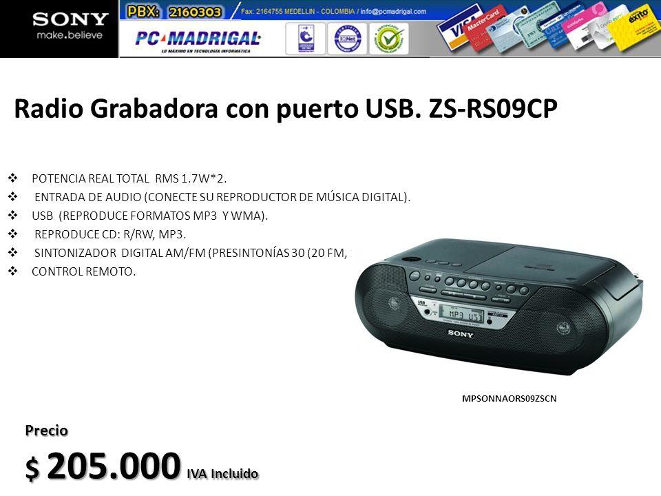 Radio Grabadora con puerto USB. ZS-RS09CP POTENCIA REAL TOTAL RMS 1.7W*2. ENTRADA DE AUDIO (CONECTE SU REPRODUCTOR DE MÚSICA DIGITAL). USB (REPRODUCE