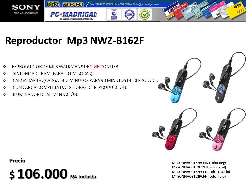 Reproductor Mp3 NWZ-B162F REPRODUCTOR DE MP3 WALKMAN® DE 2 GB CON USB. SINTONIZADOR FM (PARA 30 EMISORAS). CARGA RÁPIDA (CARGA DE 3 MINUTOS PARA 90 MI
