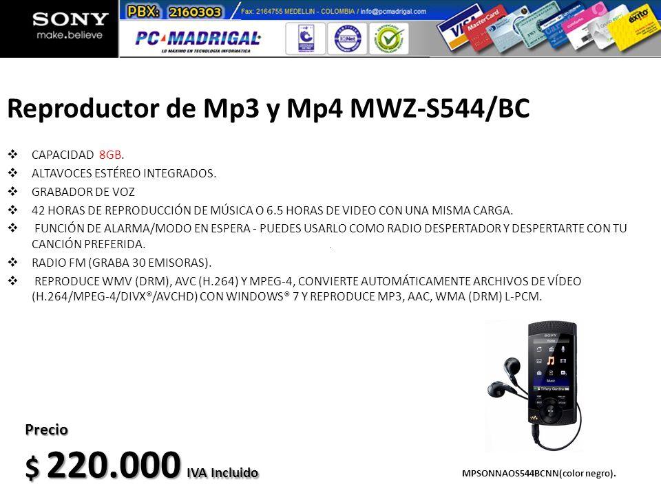 Reproductor de Mp3 y Mp4 MWZ-S544/BC CAPACIDAD 8GB. ALTAVOCES ESTÉREO INTEGRADOS. GRABADOR DE VOZ 42 HORAS DE REPRODUCCIÓN DE MÚSICA O 6.5 HORAS DE VI