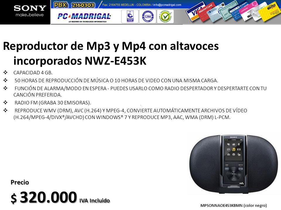 Reproductor de Mp3 y Mp4 con altavoces incorporados NWZ-E453K CAPACIDAD 4 GB. 50 HORAS DE REPRODUCCIÓN DE MÚSICA O 10 HORAS DE VIDEO CON UNA MISMA CAR