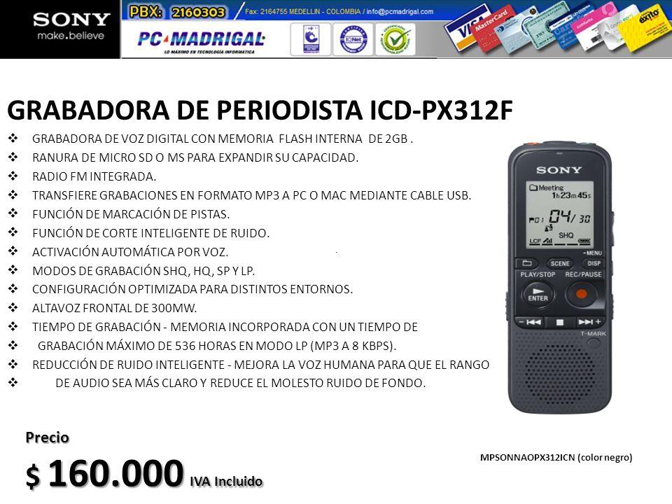 GRABADORA DE PERIODISTA ICD-PX312F GRABADORA DE VOZ DIGITAL CON MEMORIA FLASH INTERNA DE 2GB. RANURA DE MICRO SD O MS PARA EXPANDIR SU CAPACIDAD. RADI