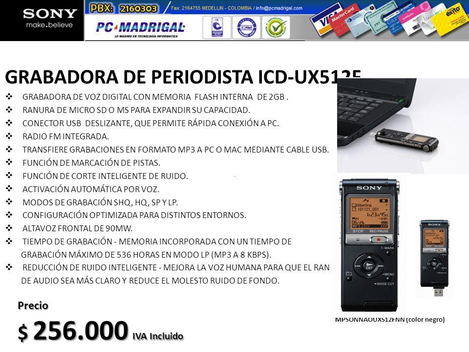 GRABADORA DE PERIODISTA ICD-UX512F GRABADORA DE VOZ DIGITAL CON MEMORIA FLASH INTERNA DE 2GB. RANURA DE MICRO SD O MS PARA EXPANDIR SU CAPACIDAD. CONE