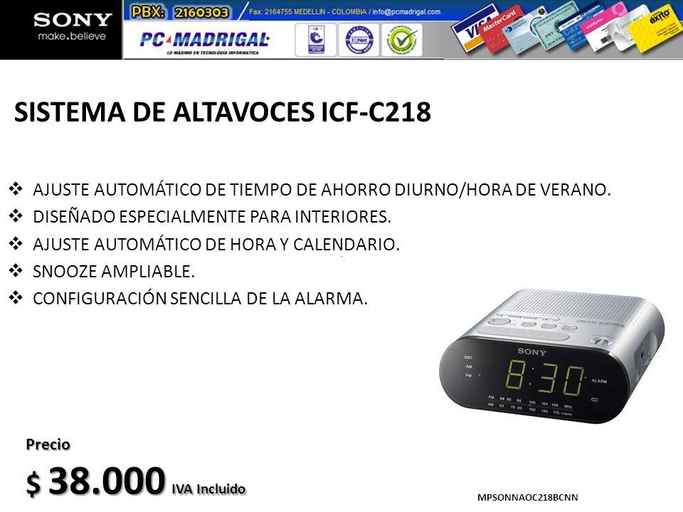 SISTEMA DE ALTAVOCES ICF-C218 AJUSTE AUTOMÁTICO DE TIEMPO DE AHORRO DIURNO/HORA DE VERANO. DISEÑADO ESPECIALMENTE PARA INTERIORES. AJUSTE AUTOMÁTICO D