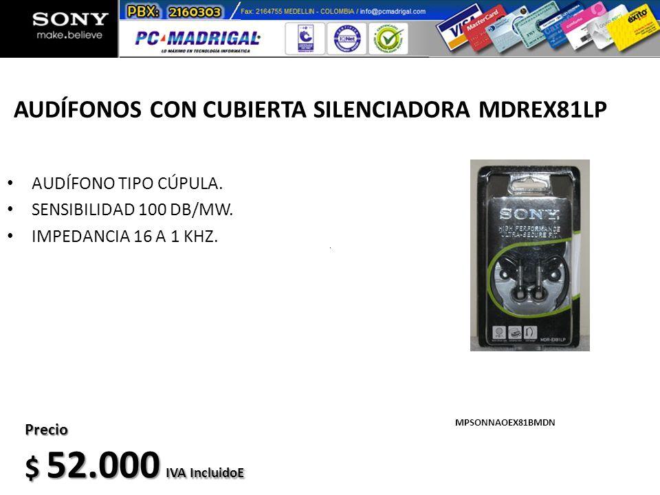AUDÍFONOS CON CUBIERTA SILENCIADORA MDREX81LP AUDÍFONO TIPO CÚPULA. SENSIBILIDAD 100 DB/MW. IMPEDANCIA 16 A 1 KHZ. MPSONNAOEX81BMDN Precio $ 52.000 IV
