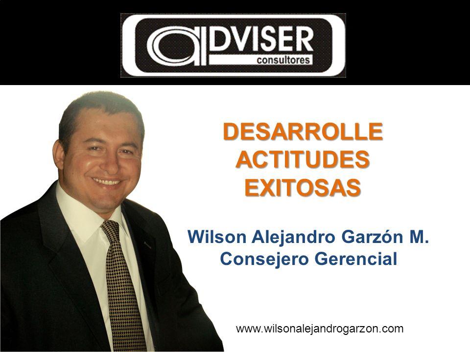 Wilson Alejandro Garzón M. Consejero Gerencial DESARROLLE ACTITUDES EXITOSAS www.wilsonalejandrogarzon.com