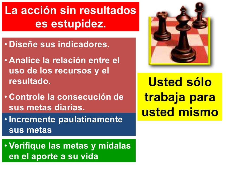 La acción sin resultados es estupidez. Diseñe sus indicadores. Analice la relación entre el uso de los recursos y el resultado. Controle la consecució