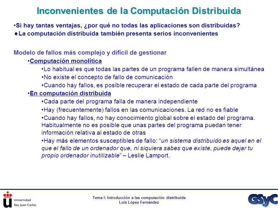 Tema I: Introducción a las computación distribuida Luis López Fernández Si hay tantas ventajas, ¿por qué no todas las aplicaciones son distribuidas? L