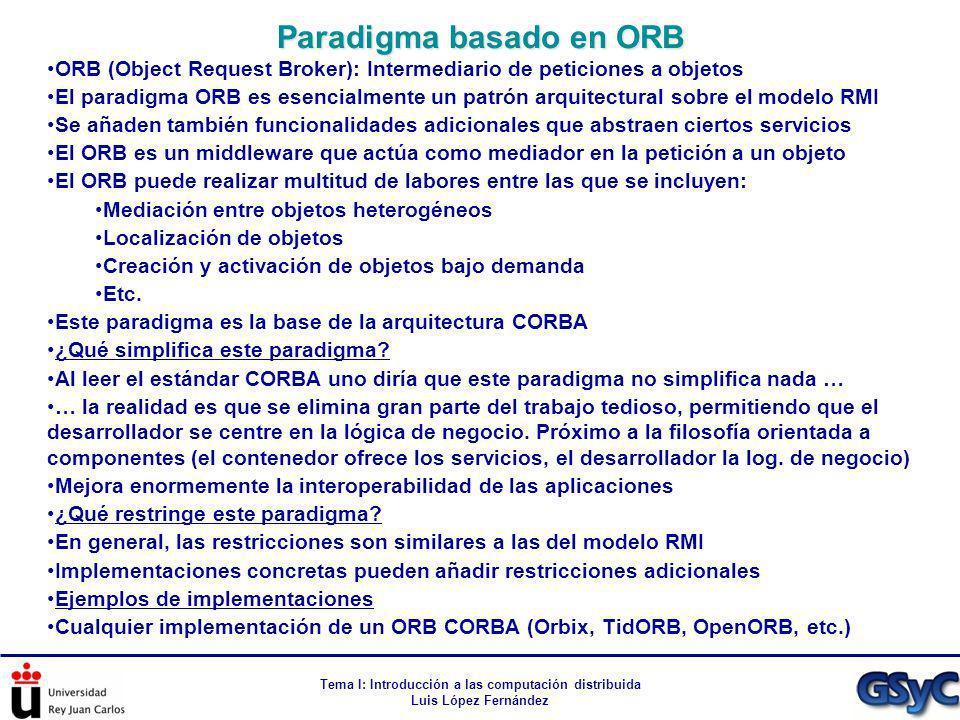 Tema I: Introducción a las computación distribuida Luis López Fernández ORB (Object Request Broker): Intermediario de peticiones a objetos El paradigm
