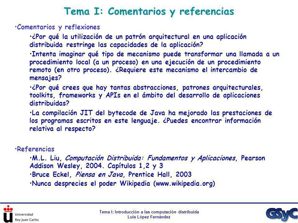 Tema I: Comentarios y referencias Tema I: Introducción a las computación distribuida Luis López Fernández Comentarios y reflexiones ¿Por qué la utiliz