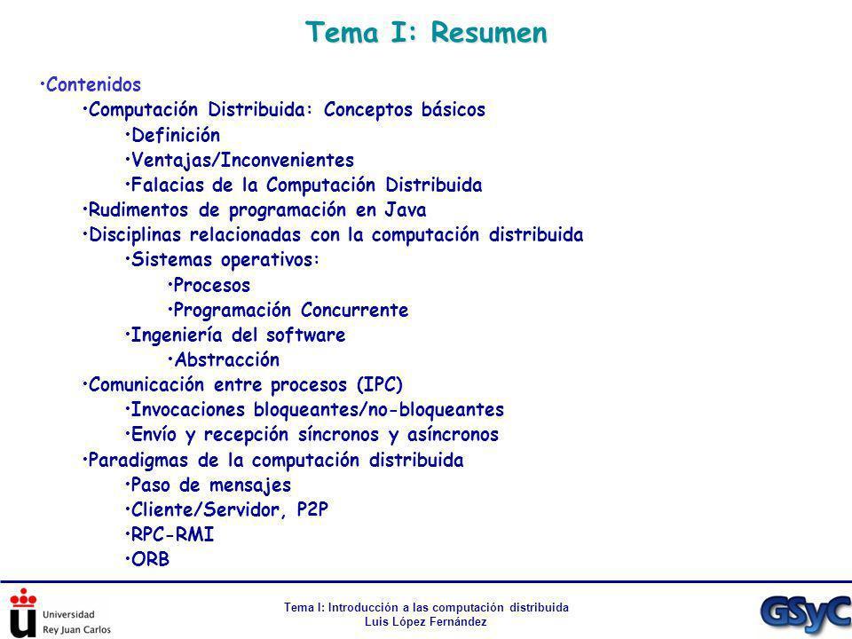 Tema I: Resumen Tema I: Introducción a las computación distribuida Luis López Fernández Contenidos Computación Distribuida: Conceptos básicos Definici