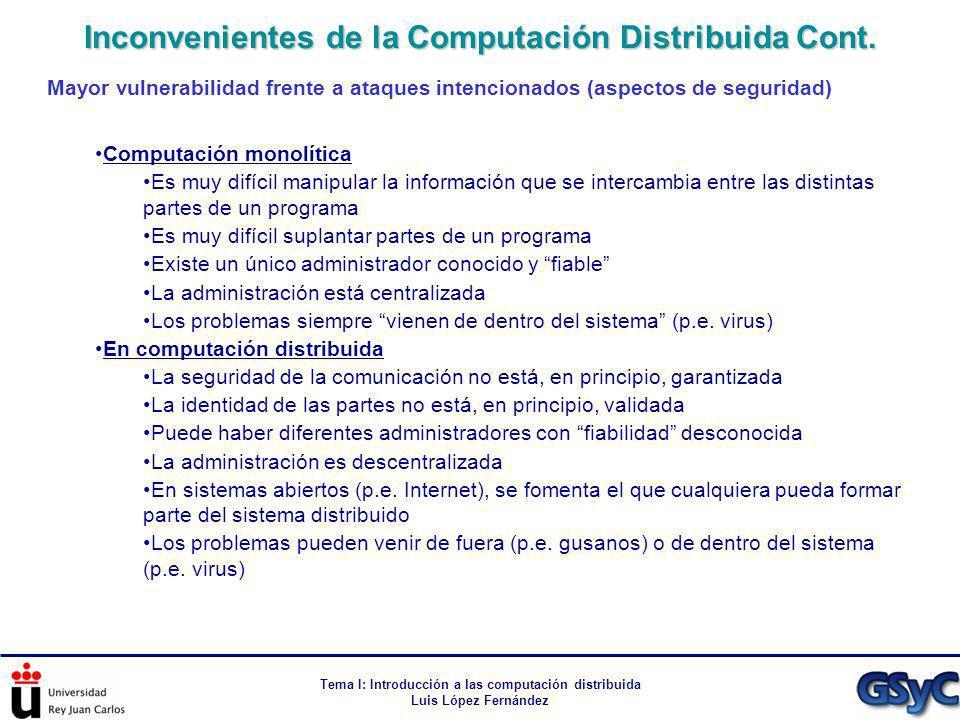 Tema I: Introducción a las computación distribuida Luis López Fernández Mayor vulnerabilidad frente a ataques intencionados (aspectos de seguridad) Co