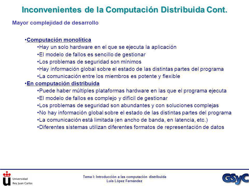 Tema I: Introducción a las computación distribuida Luis López Fernández Mayor complejidad de desarrollo Computación monolítica Hay un solo hardware en