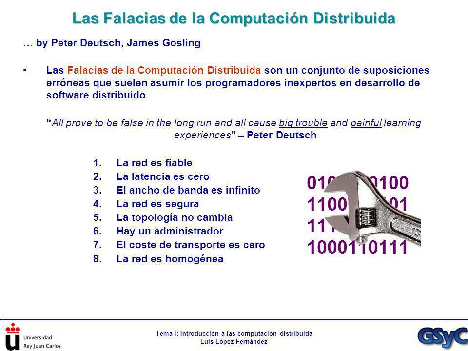 Tema I: Introducción a las computación distribuida Luis López Fernández … by Peter Deutsch, James Gosling Las Falacias de la Computación Distribuida s