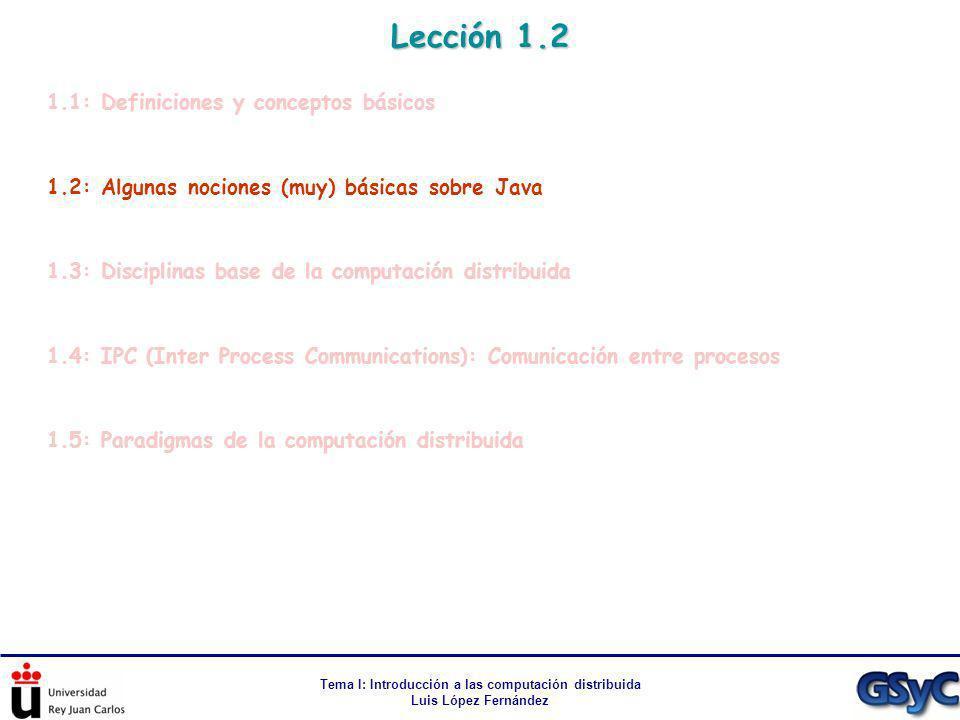 Tema I: Introducción a las computación distribuida Luis López Fernández 1.1: Definiciones y conceptos básicos 1.2: Algunas nociones (muy) básicas sobr