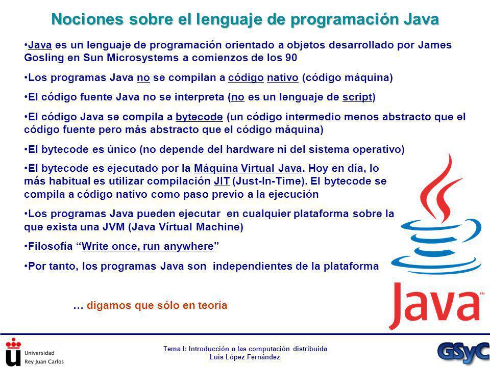 Tema I: Introducción a las computación distribuida Luis López Fernández Java es un lenguaje de programación orientado a objetos desarrollado por James