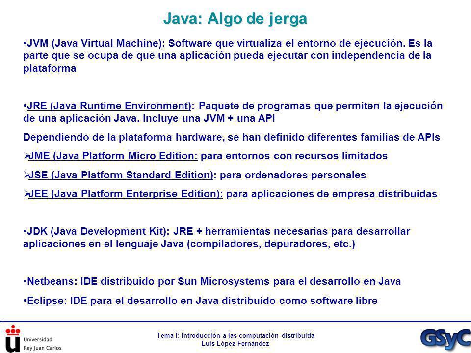 Tema I: Introducción a las computación distribuida Luis López Fernández JVM (Java Virtual Machine): Software que virtualiza el entorno de ejecución. E