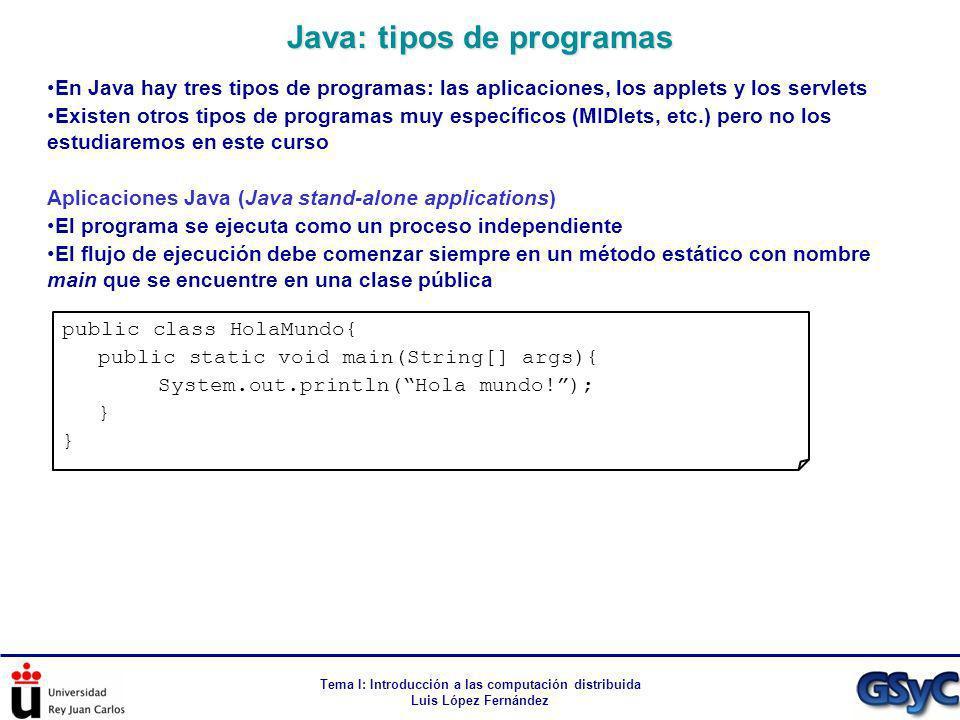 Tema I: Introducción a las computación distribuida Luis López Fernández En Java hay tres tipos de programas: las aplicaciones, los applets y los servl