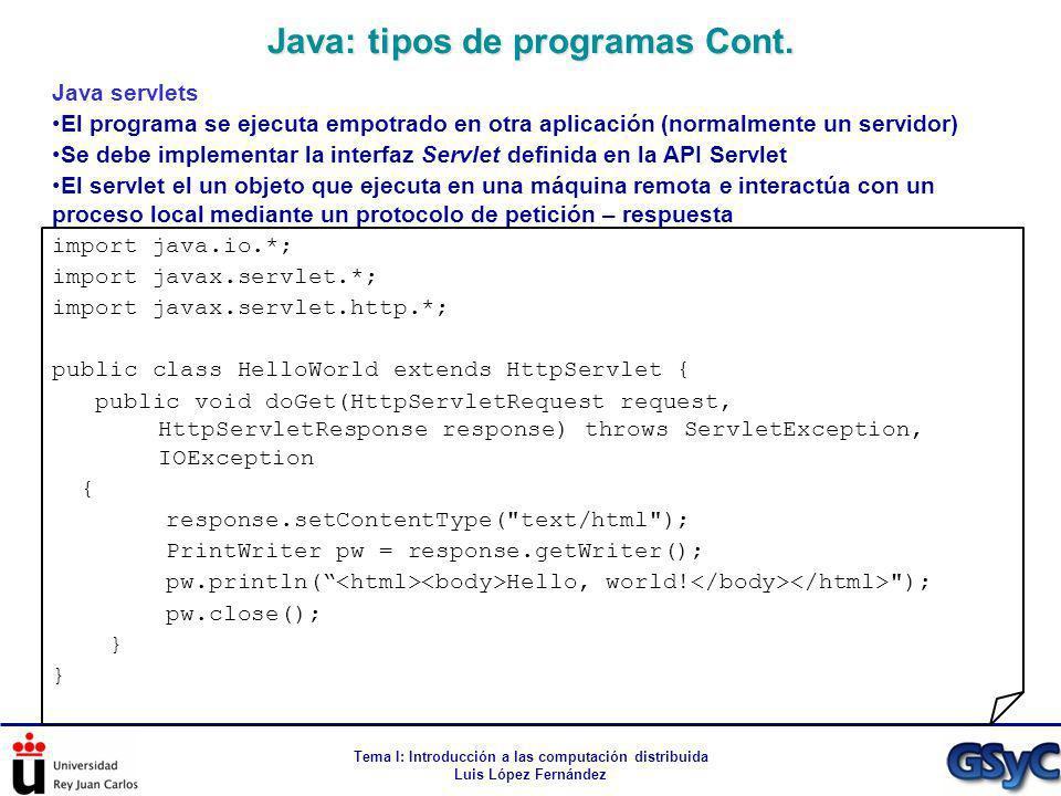 Tema I: Introducción a las computación distribuida Luis López Fernández Java servlets El programa se ejecuta empotrado en otra aplicación (normalmente