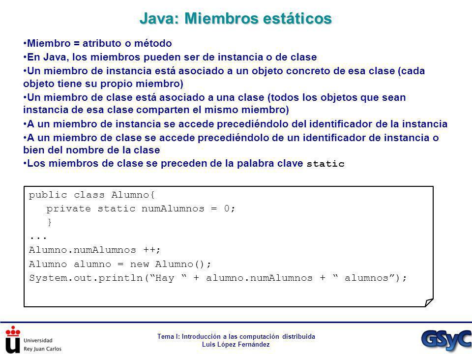 Tema I: Introducción a las computación distribuida Luis López Fernández Miembro = atributo o método En Java, los miembros pueden ser de instancia o de
