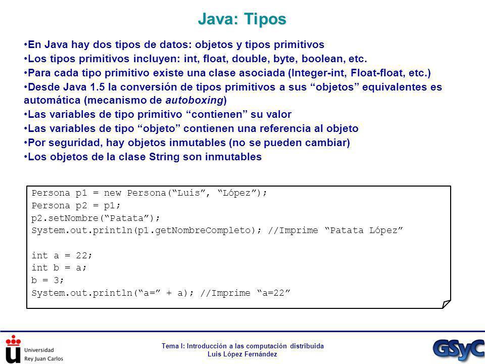 Tema I: Introducción a las computación distribuida Luis López Fernández En Java hay dos tipos de datos: objetos y tipos primitivos Los tipos primitivo