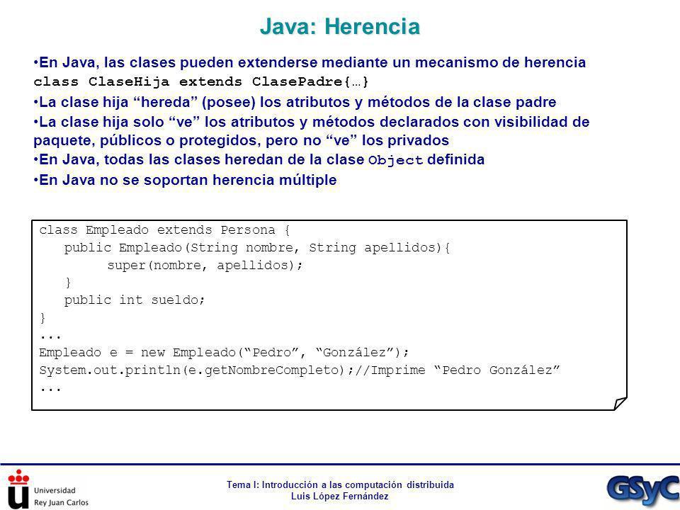 Tema I: Introducción a las computación distribuida Luis López Fernández En Java, las clases pueden extenderse mediante un mecanismo de herencia class