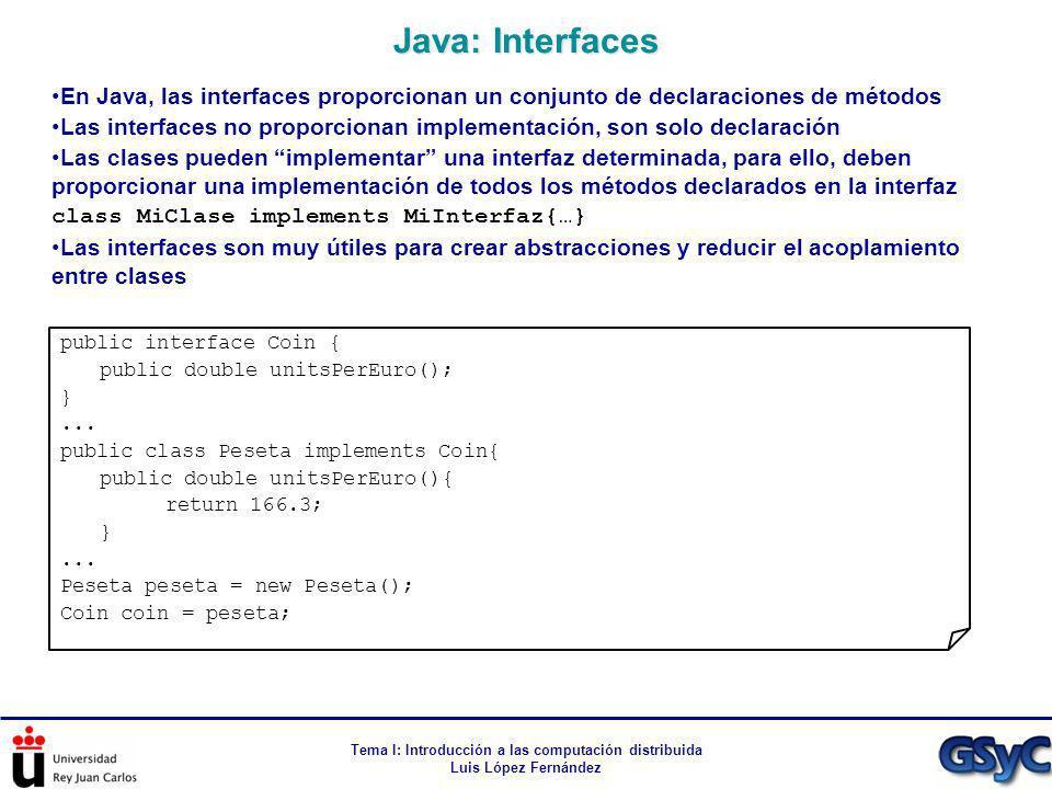Tema I: Introducción a las computación distribuida Luis López Fernández En Java, las interfaces proporcionan un conjunto de declaraciones de métodos L