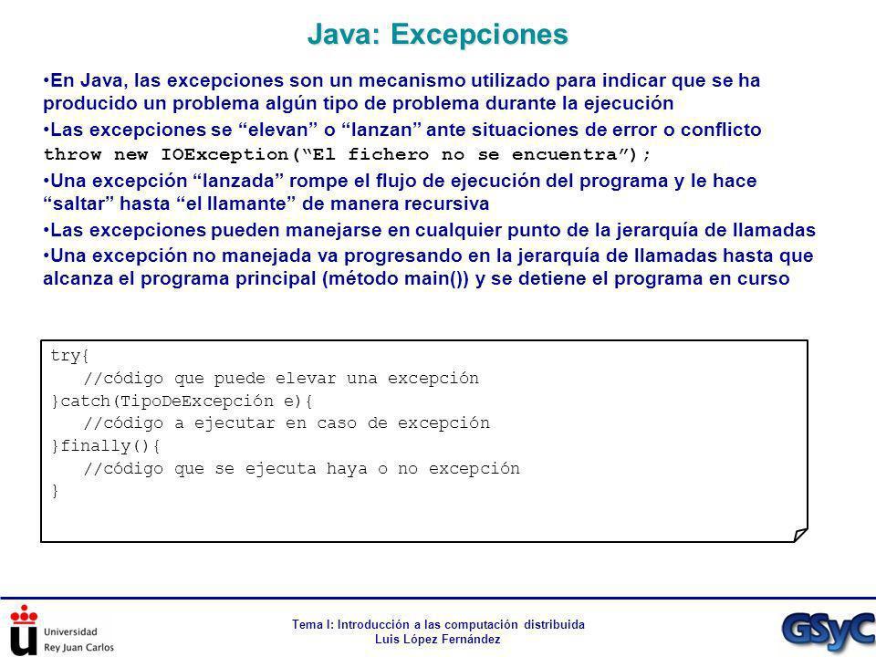 Tema I: Introducción a las computación distribuida Luis López Fernández En Java, las excepciones son un mecanismo utilizado para indicar que se ha pro