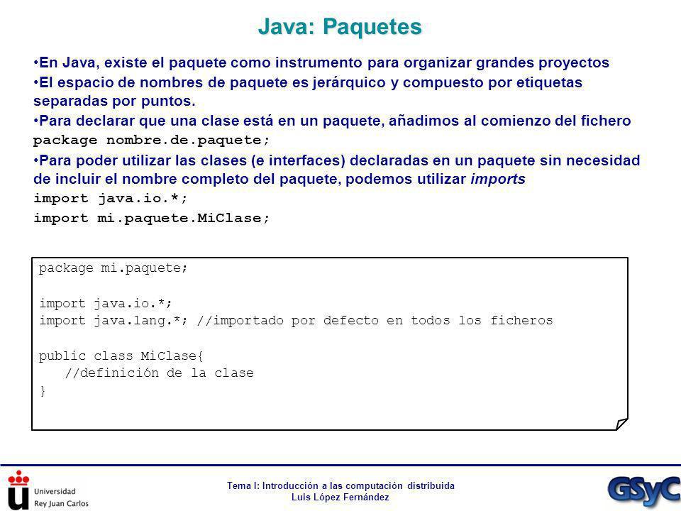 Tema I: Introducción a las computación distribuida Luis López Fernández En Java, existe el paquete como instrumento para organizar grandes proyectos E