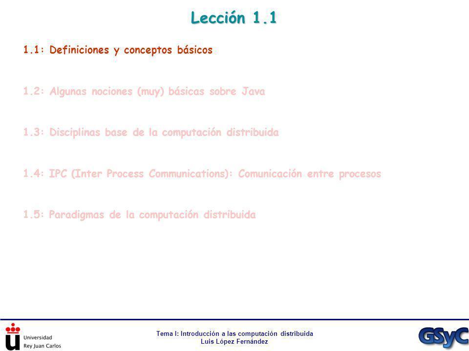 Tema I: Introducción a las computación distribuida Luis López Fernández Lección 1.1 1.1: Definiciones y conceptos básicos 1.2: Algunas nociones (muy)