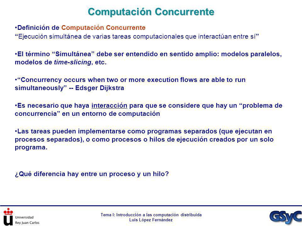 Tema I: Introducción a las computación distribuida Luis López Fernández Definición de Computación Concurrente Ejecución simultánea de varias tareas co