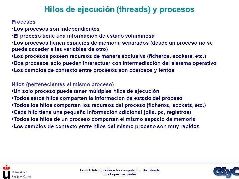 Tema I: Introducción a las computación distribuida Luis López Fernández Procesos Los procesos son independientes El proceso tiene una información de e