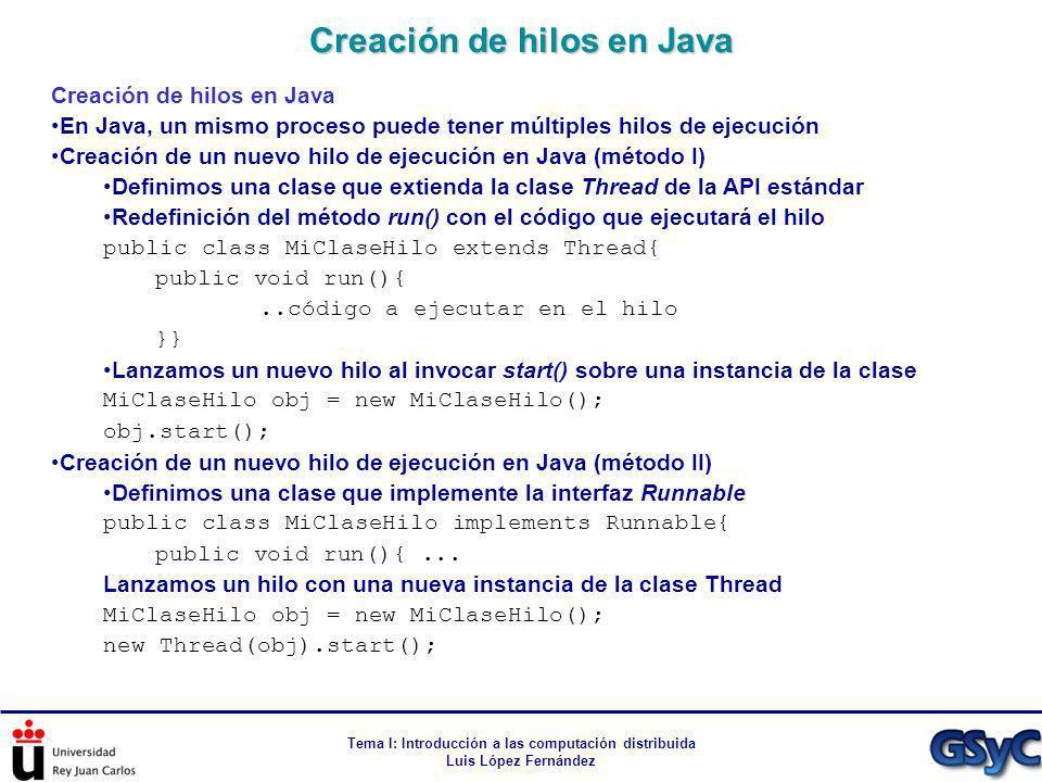 Tema I: Introducción a las computación distribuida Luis López Fernández Creación de hilos en Java En Java, un mismo proceso puede tener múltiples hilo