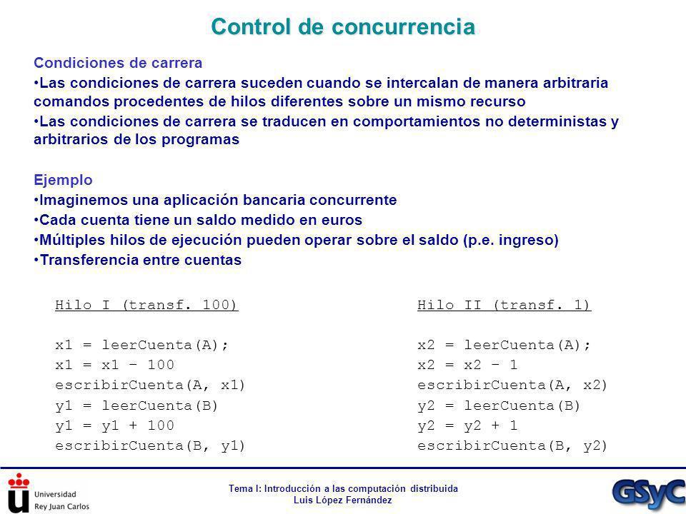 Tema I: Introducción a las computación distribuida Luis López Fernández Condiciones de carrera Las condiciones de carrera suceden cuando se intercalan