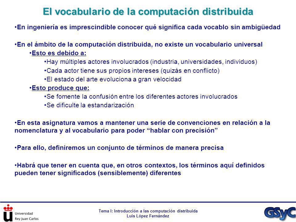 Tema I: Introducción a las computación distribuida Luis López Fernández En ingeniería es imprescindible conocer qué significa cada vocablo sin ambigüe
