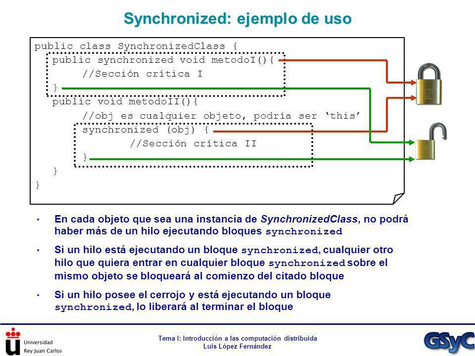 Tema I: Introducción a las computación distribuida Luis López Fernández Synchronized: ejemplo de uso public class SynchronizedClass { public synchroni