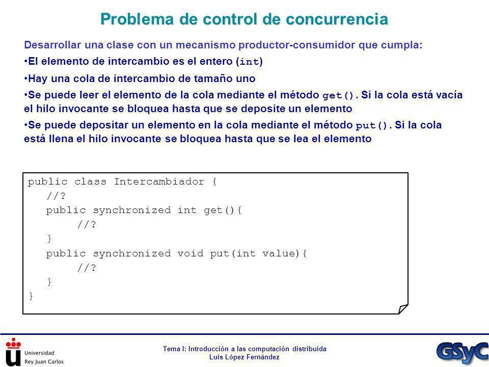 Tema I: Introducción a las computación distribuida Luis López Fernández Desarrollar una clase con un mecanismo productor-consumidor que cumpla: El ele