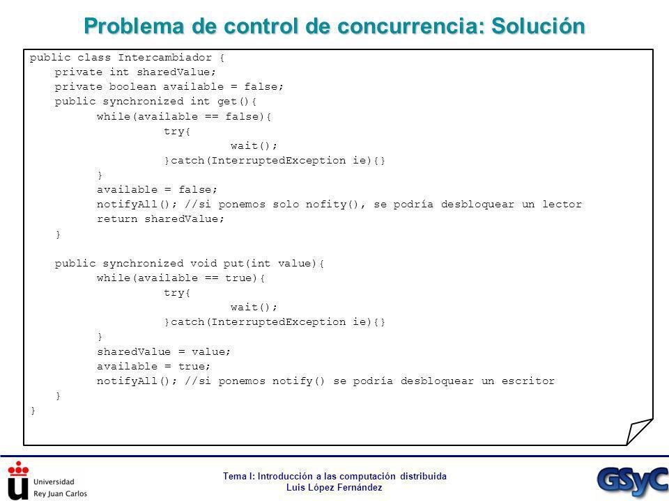 Tema I: Introducción a las computación distribuida Luis López Fernández Problema de control de concurrencia: Solución public class Intercambiador { pr