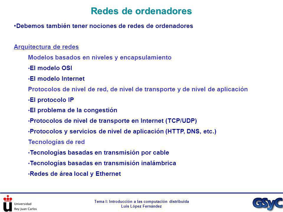 Tema I: Introducción a las computación distribuida Luis López Fernández Debemos también tener nociones de redes de ordenadores Arquitectura de redes M
