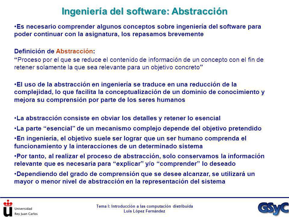 Tema I: Introducción a las computación distribuida Luis López Fernández Es necesario comprender algunos conceptos sobre ingeniería del software para p