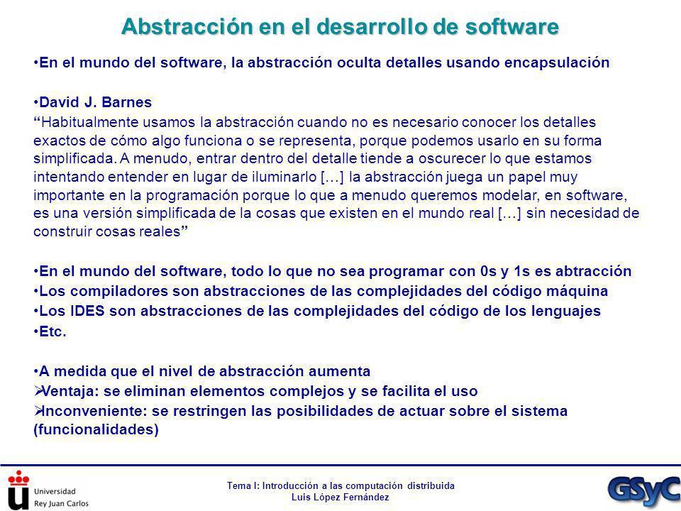 Tema I: Introducción a las computación distribuida Luis López Fernández Abstracción en el desarrollo de software En el mundo del software, la abstracc