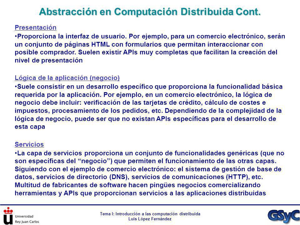 Tema I: Introducción a las computación distribuida Luis López Fernández Presentación Proporciona la interfaz de usuario. Por ejemplo, para un comercio
